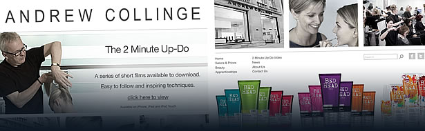 andrew collinge hairdressing website design