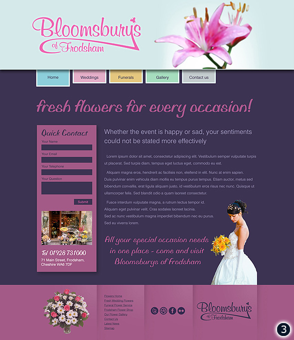 bloomsburys flower shop website visual