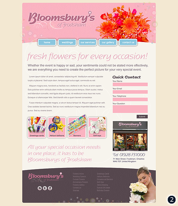 flower shop website design visual