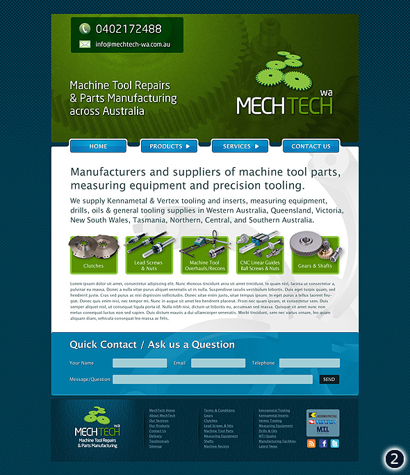 Design Visuals For Australian Manufacturer Mech Tech Website