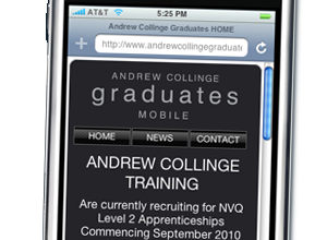 Mobile Web Design and Production by Rabbitdigital, Cheshire for Andrew Collinge Liverpool