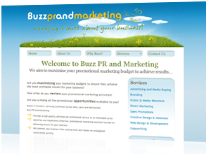 Static page web design for Buzz PR & Marketing by Rabbitdigital Cheshire