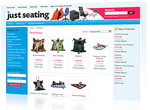eCommerce website designed and produced by Rabbitdigital Frodsham for Justseating