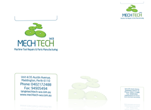 Logo and stationery design by Rabbitdigital for Mech-Tech WA Ltd, Perth Australia