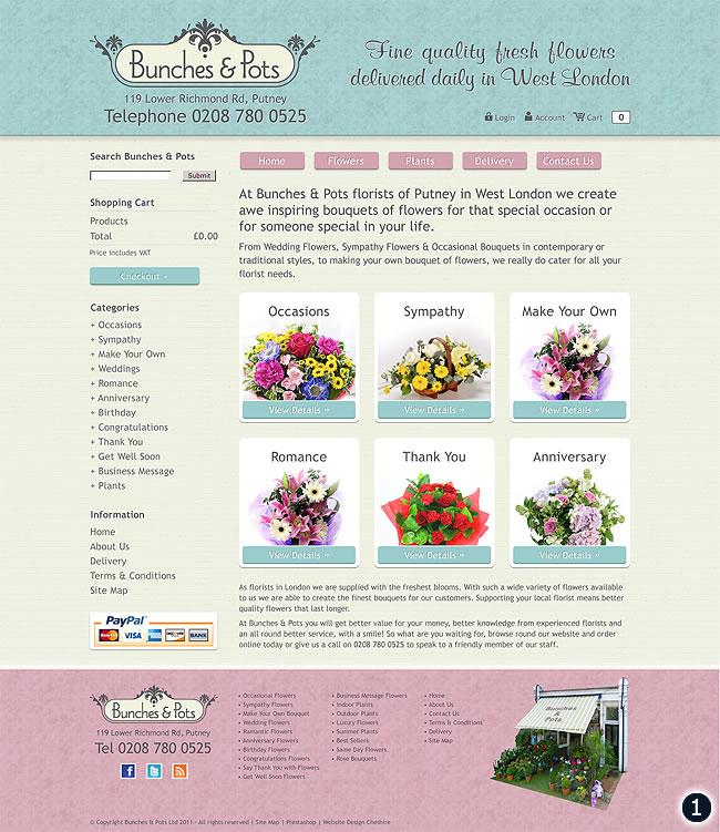 bunches and pots west london flower shop pink mint