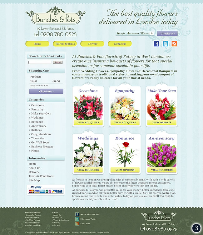 flower shop website design green blue