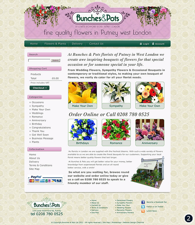 putney flower shop website design background texture