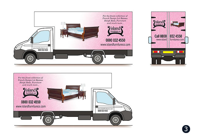 vehicle graphics designs for liverpool based island furniture company