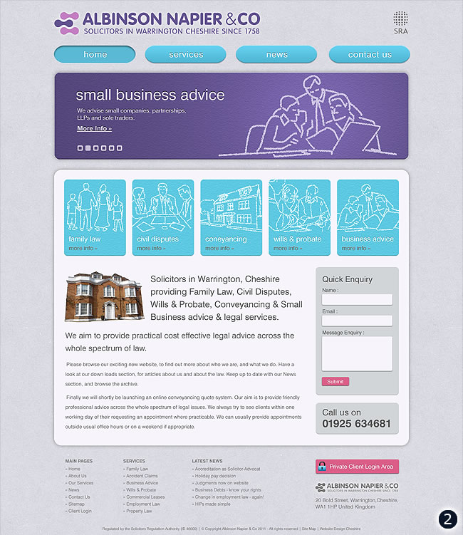light grey blue purple home page design