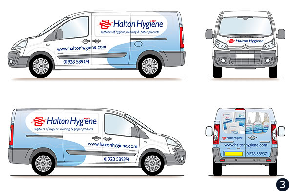 delivery van graphics livery design halton hygiene runcorn With van lettering design