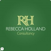 rebecca holland logo design dark green background