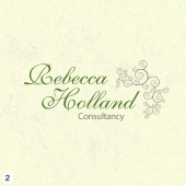 rebecca holland logo design dark green lettering organic shapes