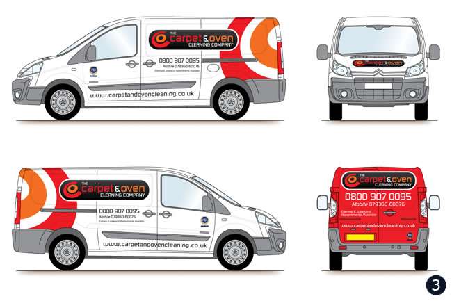 van graphics vehicle livery design for carpet oven cleaning co was