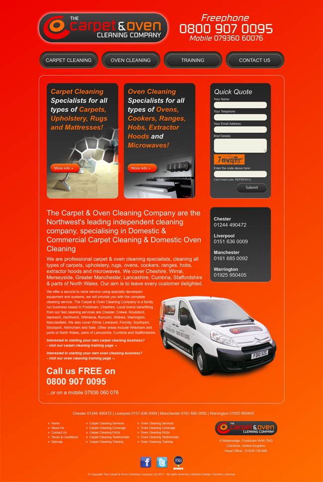 carpet oven cleaning website design