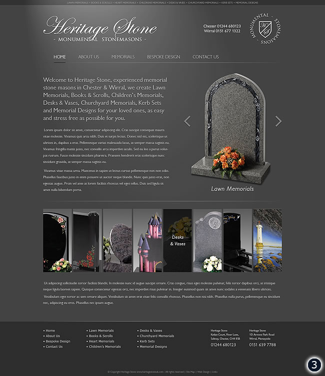 heritage stone home page dark grey design