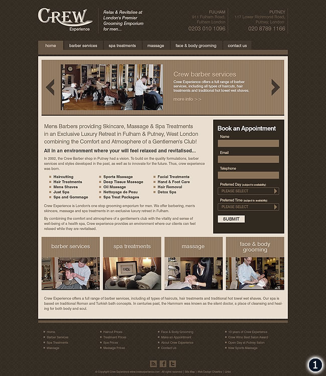 crew experience home page design number 1 with brown pattern background