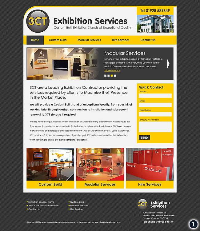 Contrasting yellow and dark grey colour way home page design