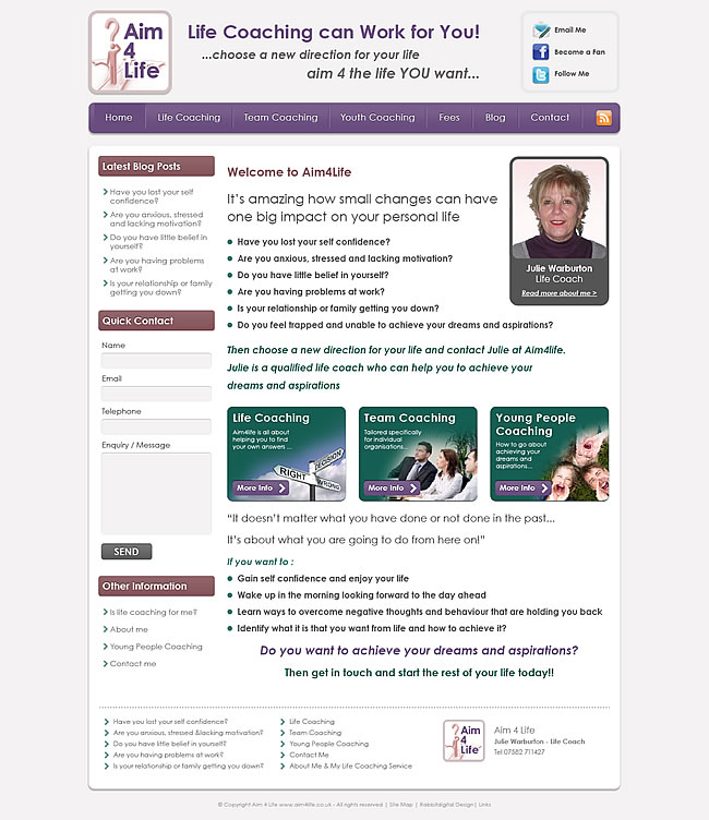 aim 4 life website design