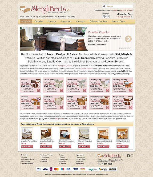 Sleigh beds furniture shop ecommerce website design Home furniture online websites