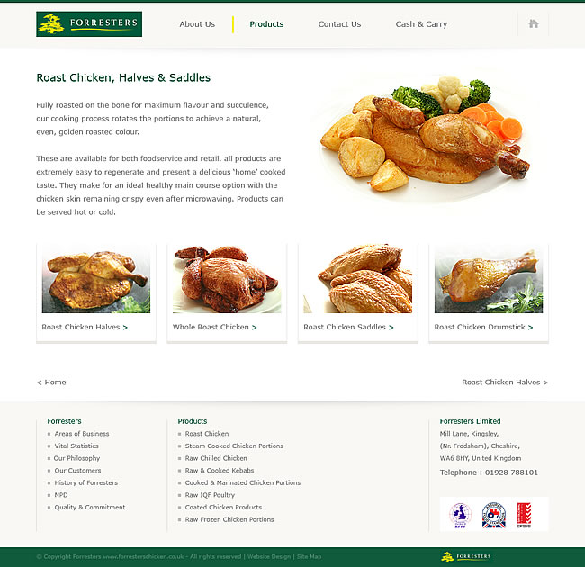 corporate website design products page