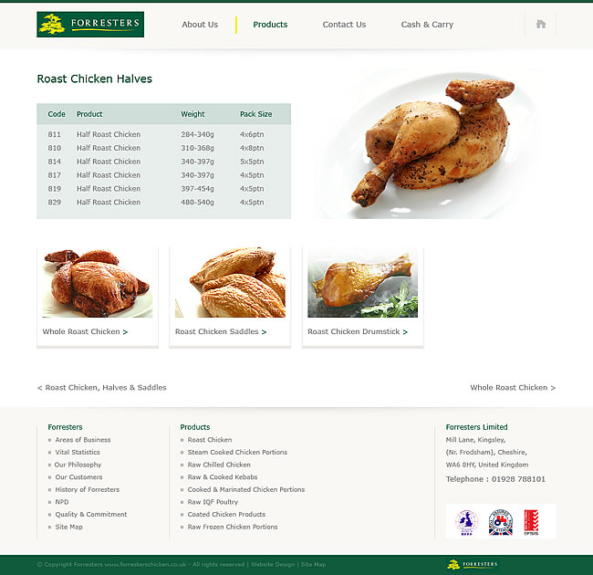 corporate website products table visual
