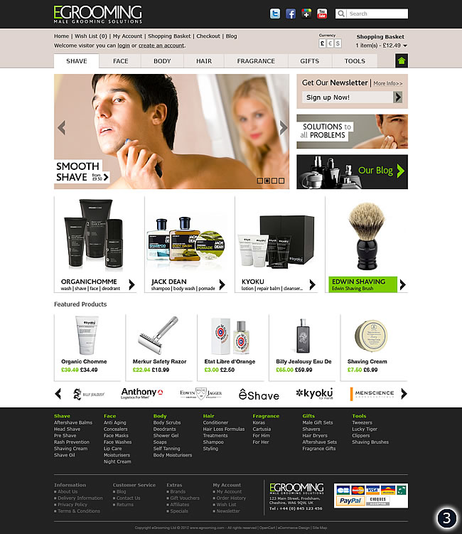 lime green male grooming ecommerce website
