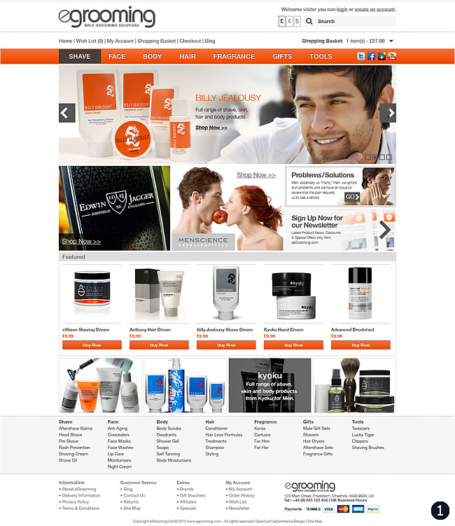 Ecommerce website design male grooming products shop for T shirt ecommerce website
