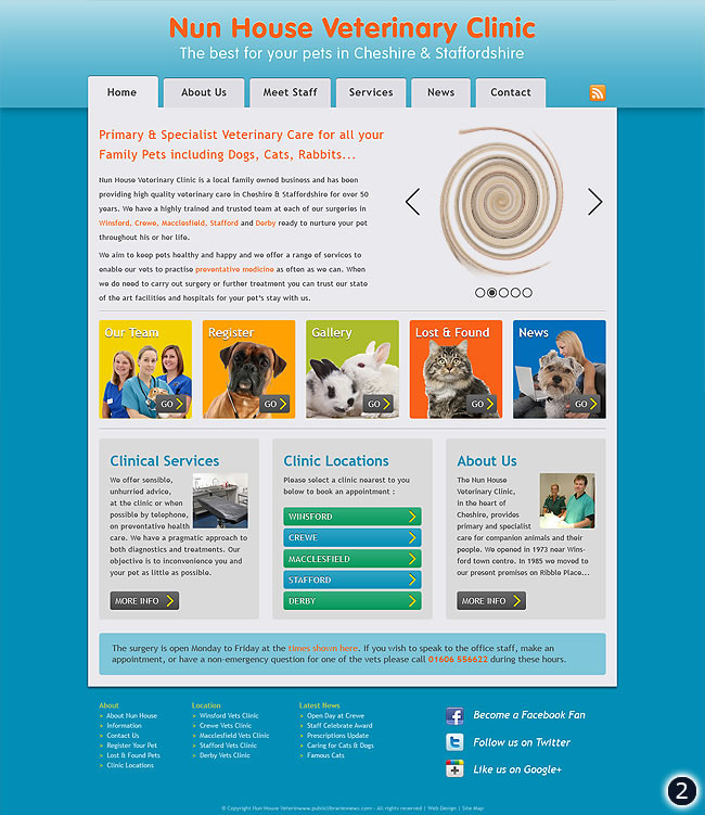 cheshire vets website design 2 blue background