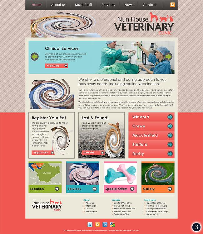 cheshire vets website design 3 grey and orange background