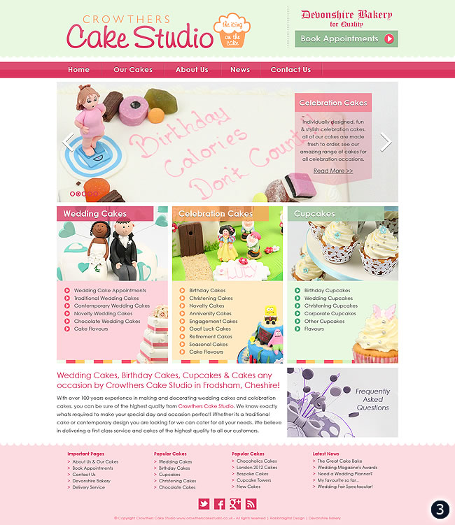 Cake Designs Website : Cake Shop Website Design in Cheshire by Rabbitdigital