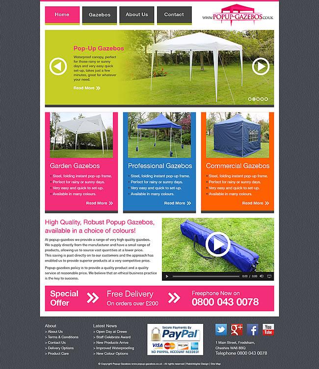 popup gazebos website design