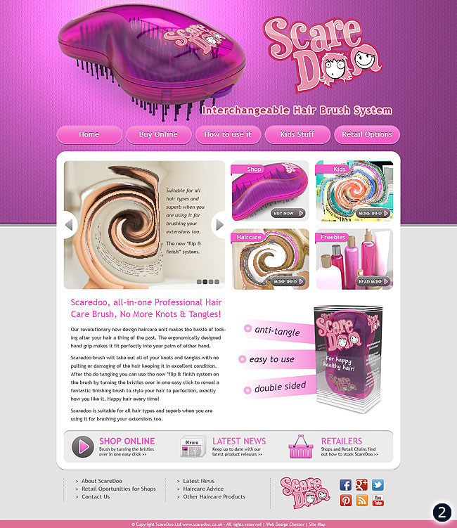 hair brush website design with pink header and grey body