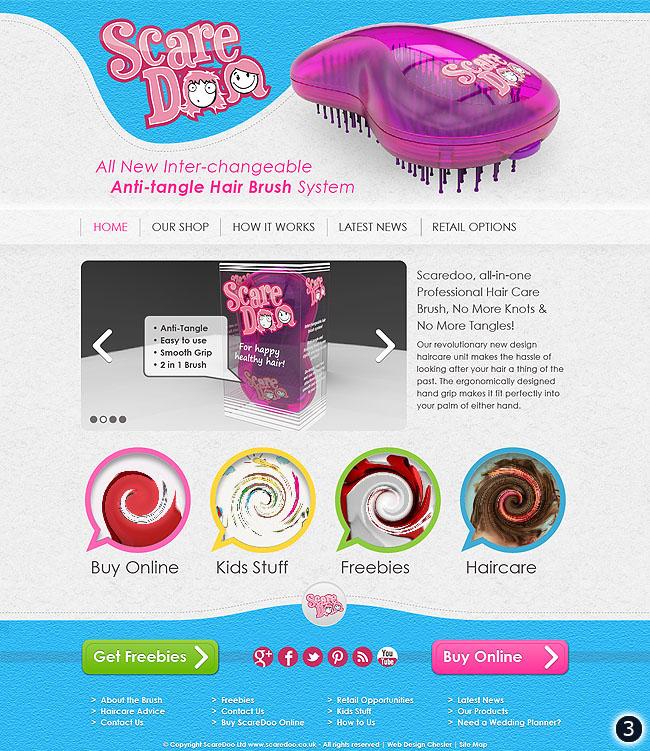 hair brush website design sky blue footer and header