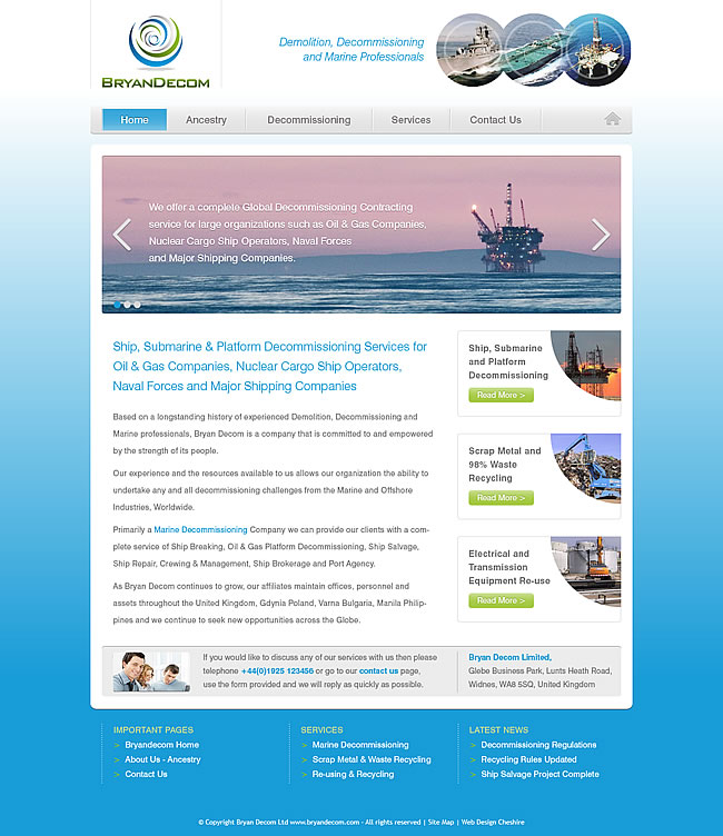 decommissioning company website design