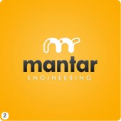 yellow background with grey lettering logo design mantar engineering
