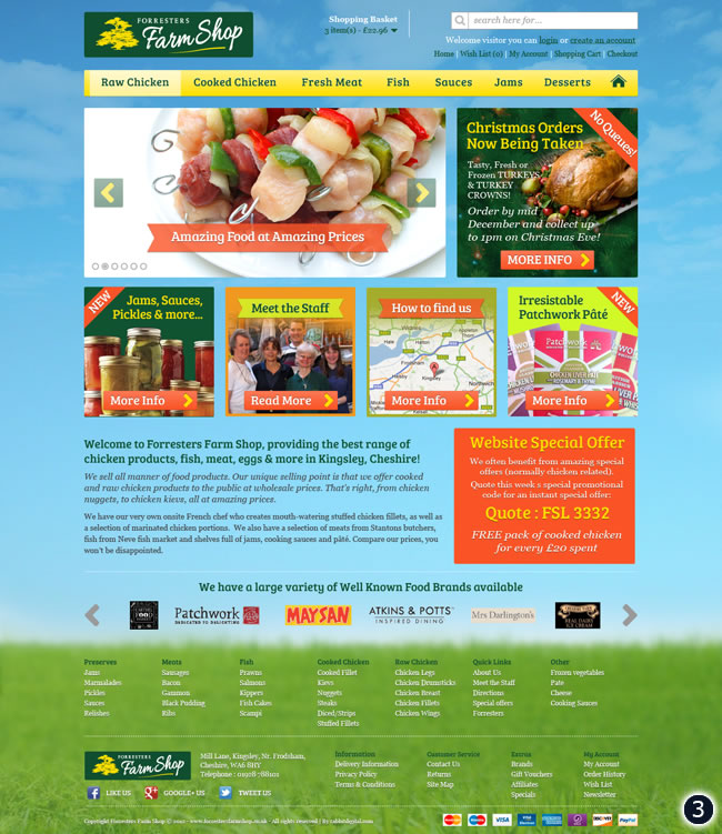 3 cheshire farm shop web design blue sky grass footer