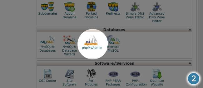 cpanel phpmyadmin database backup