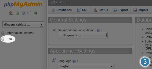 phpmyadmin select your database