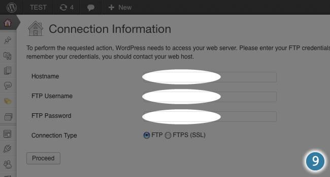input your ftp details