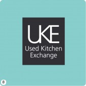 uke logo design light teal background grey block