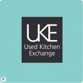 uke logo design light teal background grey block