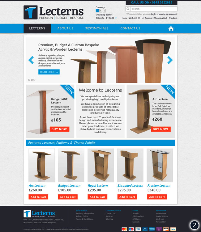 blue dark grey lectern website design