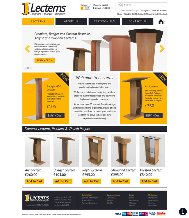 yellow dark grey lectern website design