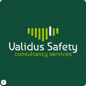 white and lime lettering health and safety logo design english green background