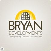 development company logo design yellow brown