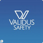 validus safety logo design blue gradient background option