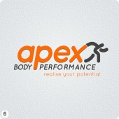 personal trainer orange grey logo design
