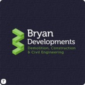 construction company logo design green white dark blue