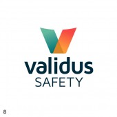 safety logo design rainbow effect transparent bold v