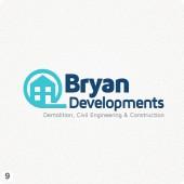 construction company logo design blue